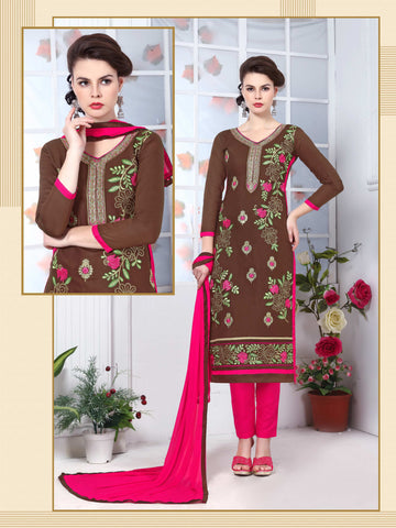 Brown Color Glass Cotton Embroidery Work Semi-Stitched Designer Dress Material