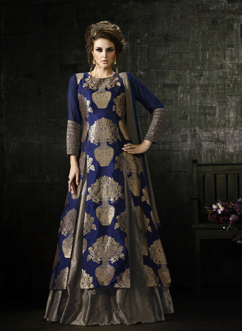 Blue Color Banarasi  jacquard, cotton silk Fabric Hand Work Designer Anarkali Suit