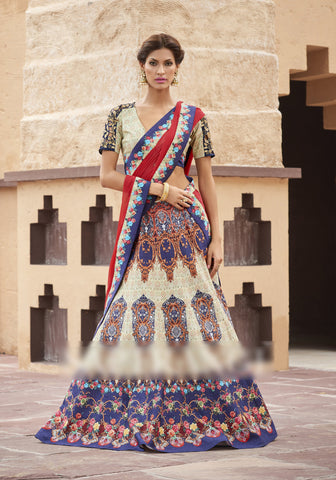 Beige & Blue Colored Heritage Silk Embroidery Work With Digital Print Border Designer Semi Stitched Lehenga Choli