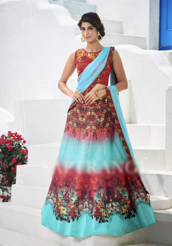 Aqua Blue & Pink Colored Heritage Silk Embroidery Work With Digital Print Border Designer Semi Stitched Lehenga Choli