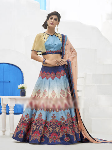 Blue Colored Heritage Silk Embroidery Work With Digital Print Border Designer Semi Stitched Lehenga Choli