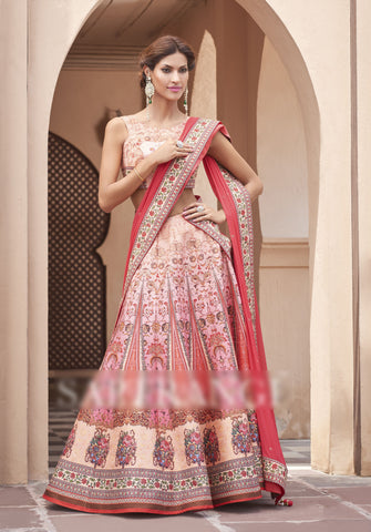 Light pink Colored Heritage Silk Embroidery Work With Digital Print Border Designer Semi Stitched Lehenga Choli