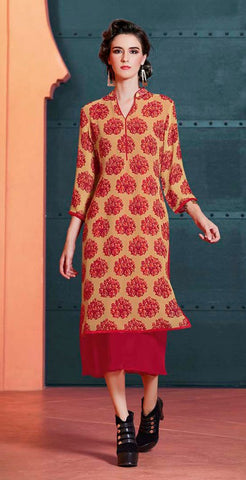 Beige & Red Colored Georgette Printed With Embroidery Designer Stitched Kurti