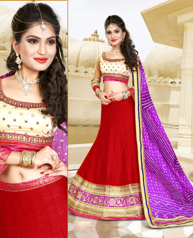 Multi Colored Silk With Jari & Embroidery Work Semi Stitched Lehenga Choli