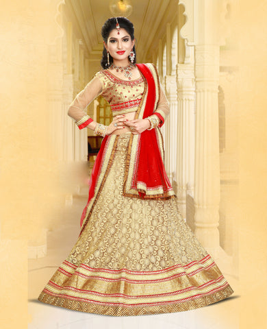 Multi Colored Net With Jari & Embroidery Work Semi Stitched Lehenga Choli