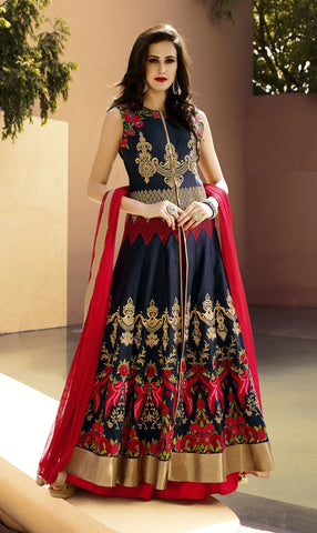 Navy Blue Color Silk Embroidery Work Designer Indo Western Lehenga Choli