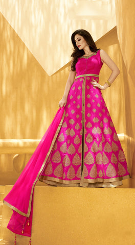 Rani Color Silk Embroidery Work Designer Indo Western Lehenga Choli