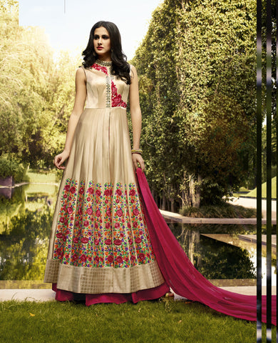 Gold Color Silk Embroidery Work Designer Indo Western Lehenga Choli