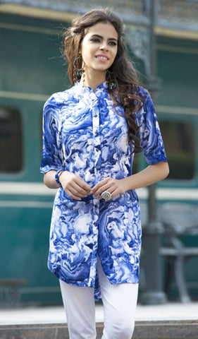 Blue Colored Cotton Printed Work Designer Stitched Kurti