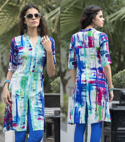 Blue Colored Rayon Cotton Printed Work Designer Stitched Kurti