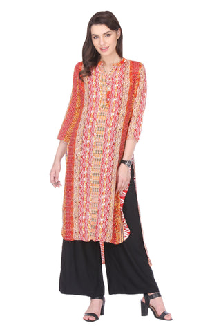 Multi Colored Rayon Printed Partywear Stitched Kurti