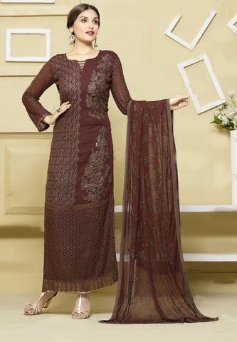 Brown Color Chiffon Embroidery Work Semi-Stitched Designer Dress Material
