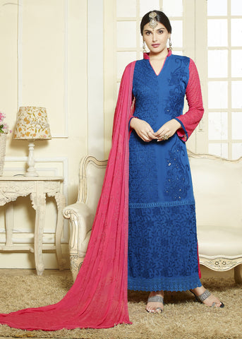 Blue Color Chiffon Embroidery Work Semi-Stitched Designer Dress Material