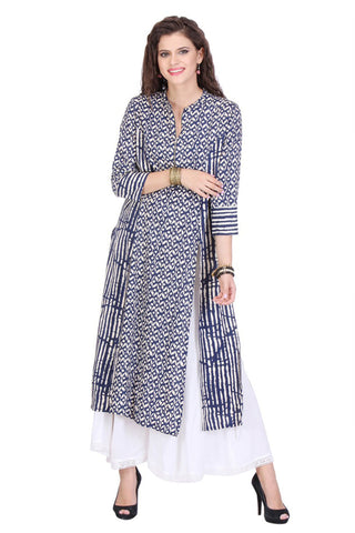 Blue Colored Rayon Designer Partywear Stitched Kurti