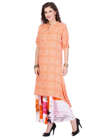 Cream Colored Rayon Partywear Stitched Kurti