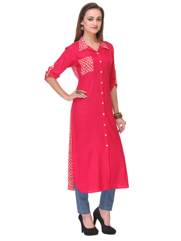Pink Colored Rayon Designer Partywear Stitched Kurti