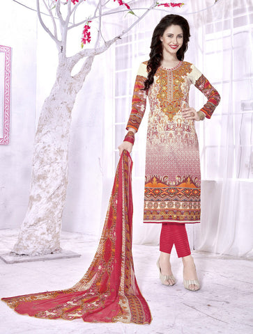 Cream Color Cambric Cotton Digital Printed Semi-Stitched Designer Dress Material