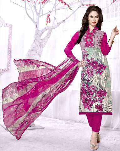 Cream & Pink Color Cambric Cotton Digital Printed Semi-Stitched Designer Dress Material