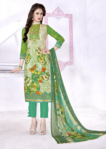 Multi Color Cambric Cotton Digital Printed Semi-Stitched Designer Dress Material