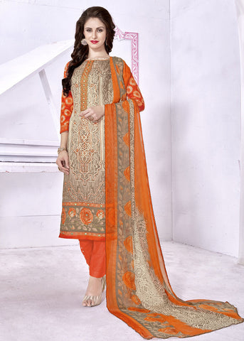 Cream & Orange Color Cambric Cotton Digital Printed Semi-Stitched Designer Dress Material