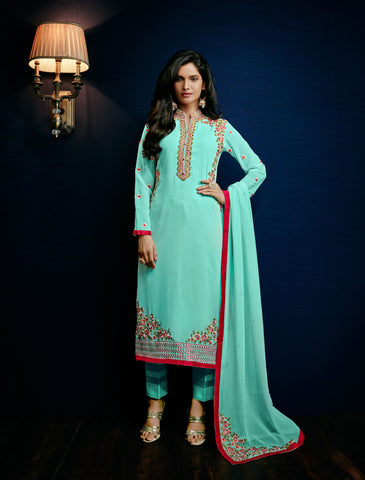 Aqua Blue Color Georgette Embroidery Semi-Stitched Designer Dress Material