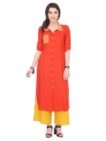 Orange Colored Rayon Designer Stiched Kurti Collection