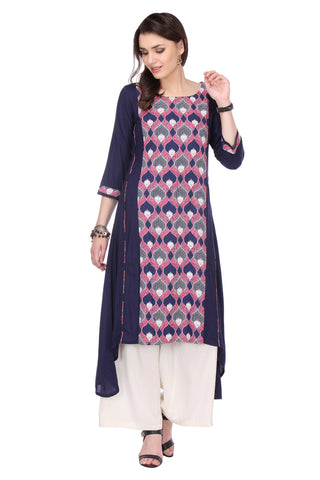 Blue Colored Rayon Printed Designer Stiched Kurti Collection