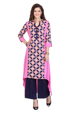 Pink Colored Rayon Printed Designer Stiched Kurti Collection