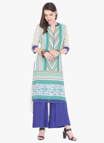 Off White Colored Rayon Designer Stiched Kurti Collection