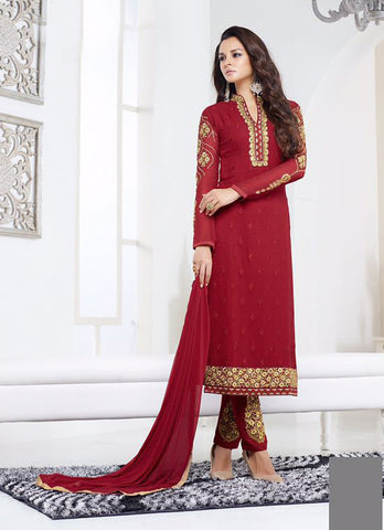 Red Color Georgette Embroidery Semi-Stitched Designer Dress Material