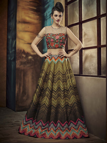 Multi & Olive Green Color Banglori Silk With Embroidery & Patch Work Designer Semi Stitched Indo Western Lehenga Choli