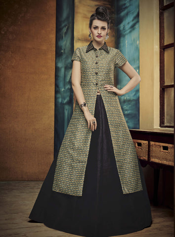 Black Color Banglori Silk With Embroidery & Patch Work Designer Semi Stitched Indo Western Lehenga Choli