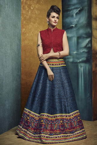 Blue & Multi Color Banglori Silk With Embroidery & Patch Work Designer Semi Stitched Indo Western Lehenga Choli