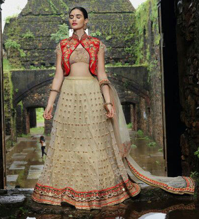 Beige Color Soft Net Heavy Embroidery Semi Stitched Lehenga Choli