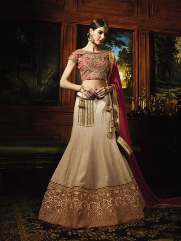 Beige Color Ithalian Silk Heavy Embroidery Semi Stitched Lehenga Choli