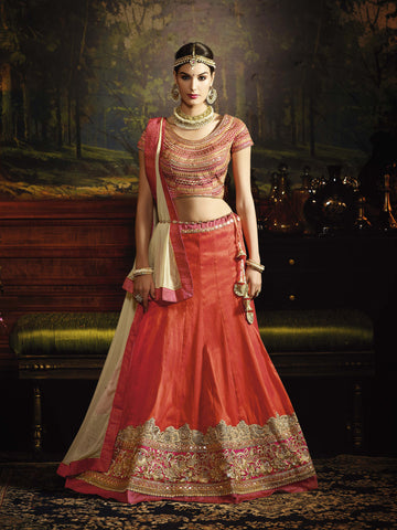 Dark Orange Color Fantum Silk Heavy Embroidery Semi Stitched Lehenga Choli