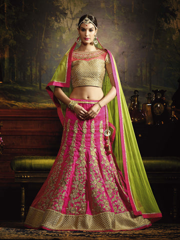 Pink Color Silk Heavy Embroidery Semi Stitched Lehenga Choli