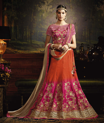 Pink & Orange Color Ithalian Silk Heavy Embroidery Semi Stitched Lehenga Choli