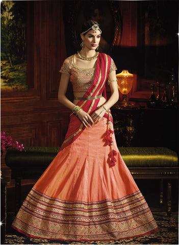 Pastel Orange Color Melborn Silk Heavy Embroidery Semi Stitched Lehenga Choli