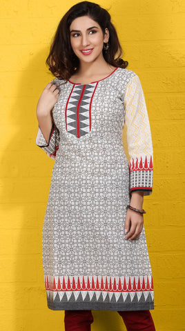 Beige Colored Cotton with Jaquard Bordered Block Printed Work Designer Stitched Kurti