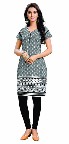 Grey Colored Cotton Printed Designer Stitched Kurti
