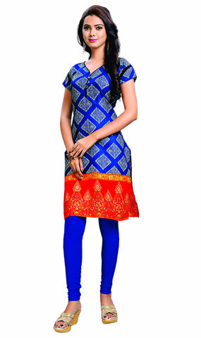 Blue Colored Cotton Printed Designer Stitched Kurti