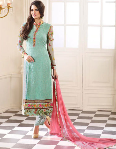 Baby Blue Color Georgette Printed With Embroidery Semi-Stitched Designer Dress Material