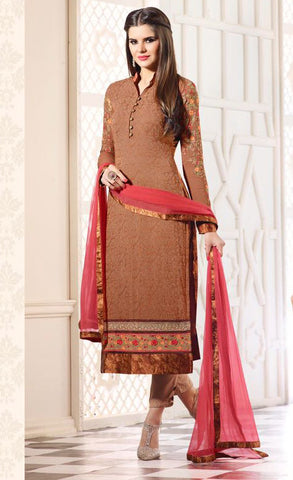 Light Brown Color Georgette Printed With Embroidery Semi-Stitched Designer Dress Material