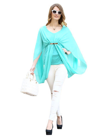 Sky Blue Colored Georegette And Satin Top