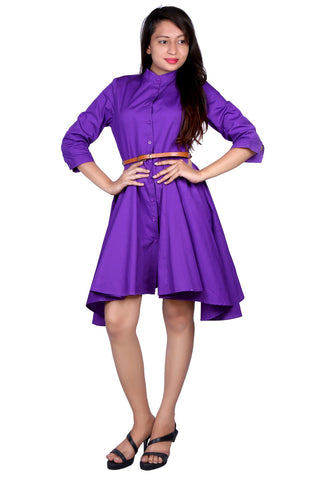 Purple Colored Cotton Stitched Western