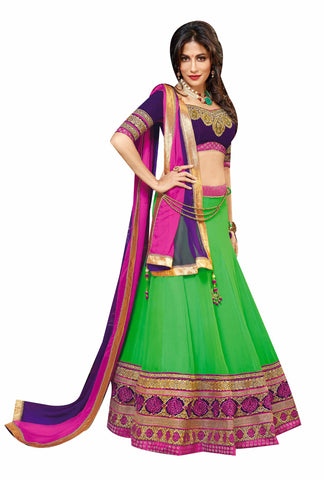 Green Color Georgette Embroidery Work Semi Stitched Lehenga Choli