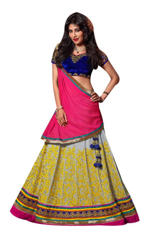 Grey Color Georgette Embroidery Work Semi Stitched Lehenga Choli