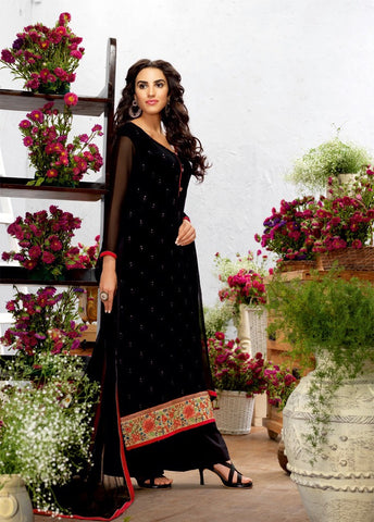 Black Color Georgette Embroidery Semi-Stitched Designer Dress Material