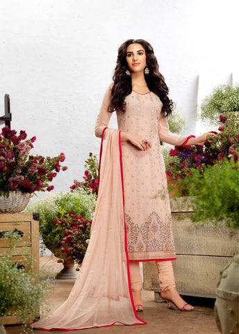 Baby Pink Color Georgette Embroidery Semi-Stitched Designer Dress Material